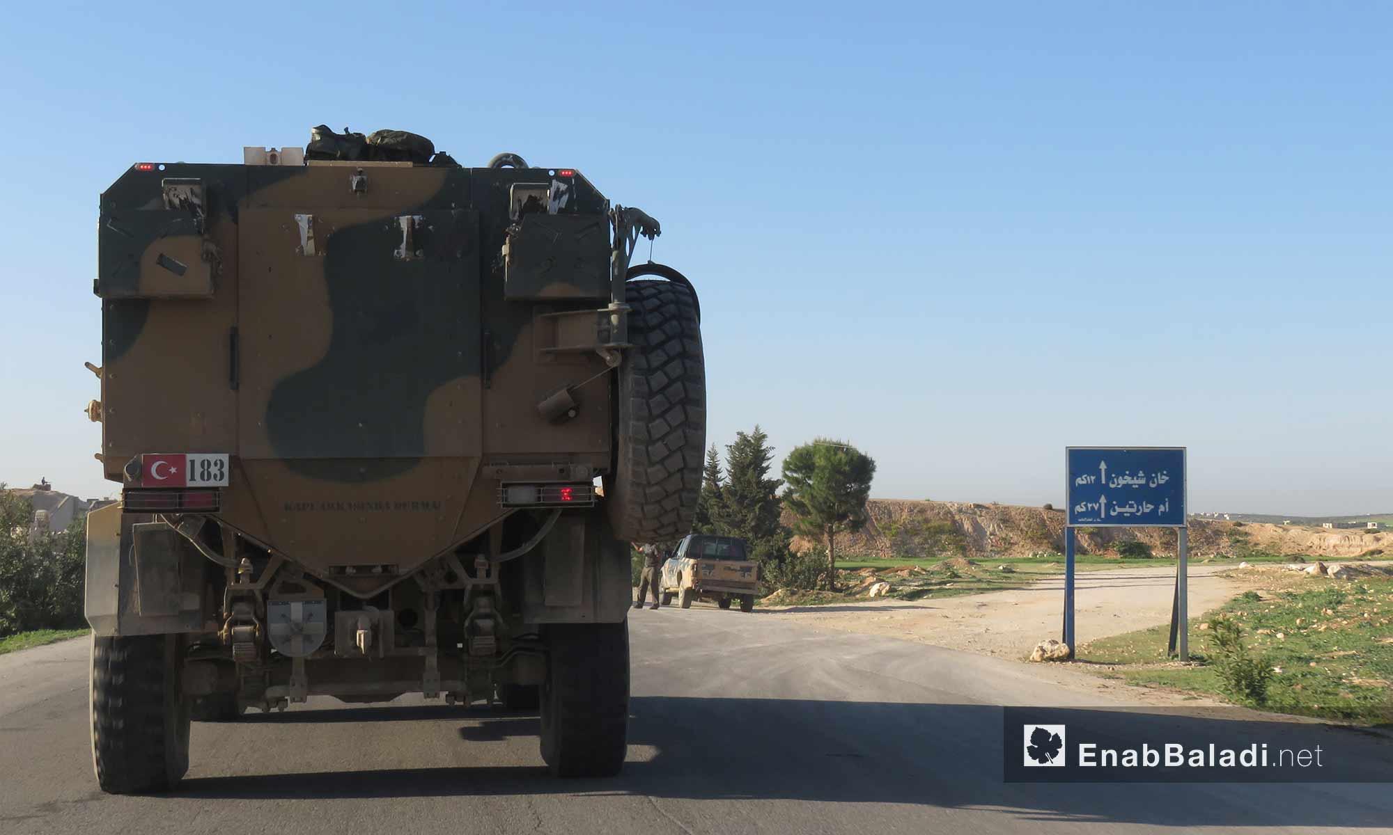 عتاد عسكري وسيارات ضمن رتل تركي يدخل ريف حماة لتبيث نقطة المراقبة التاسعة - 7 نيسان 2018 (عنب بلدي)
