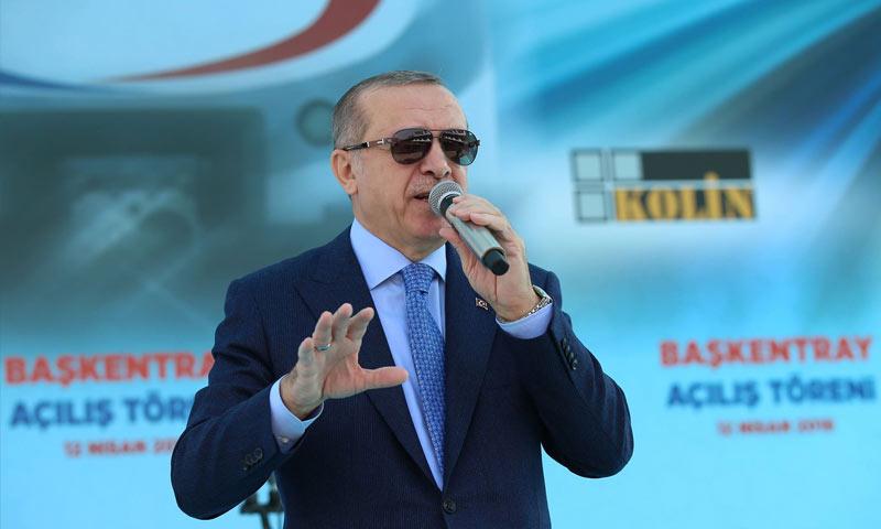 الرئيس التركي رجب طيب أردوغان في أنقرة - 12 من نيسان 2018 (TRT)
