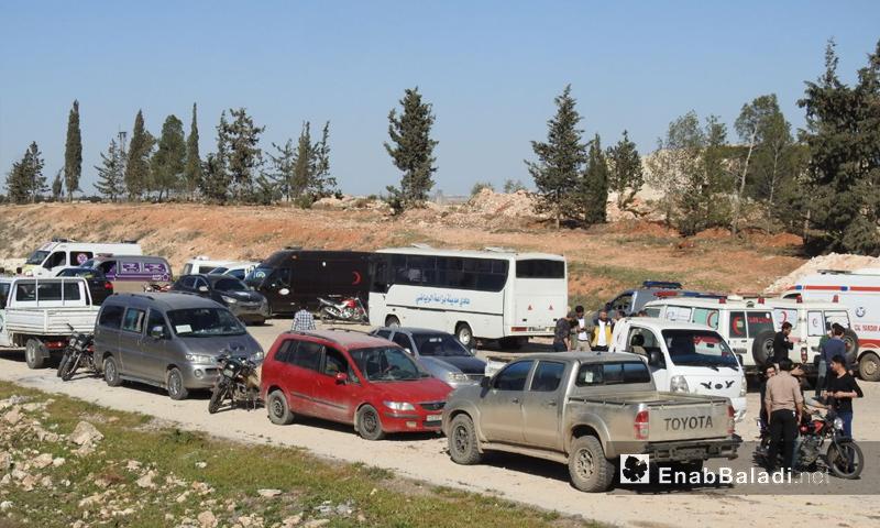 وصول مهجري مدينة دوما إلى ريف حلب الشمالي - 3 من نيسان 2018 (عنب بلدي)