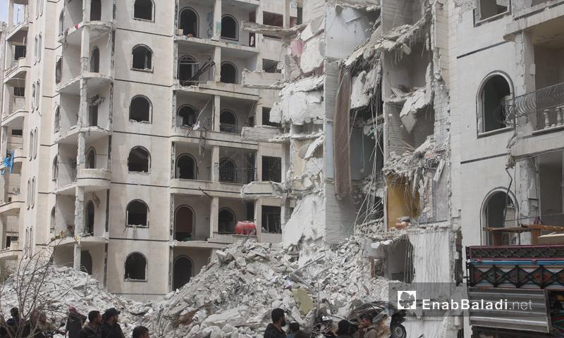 آثار الدمار الذي خلفه انفجار في مدينة إدلب - 9 نيسان 2018 (عنب بلدي)