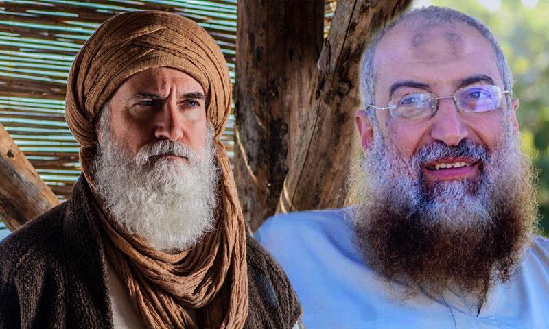 الشيخ المصري ياسر برهامي (يمين) وشخصية ابن العربي في مسلسل أرطغرل (تعديل عنب بلدي)