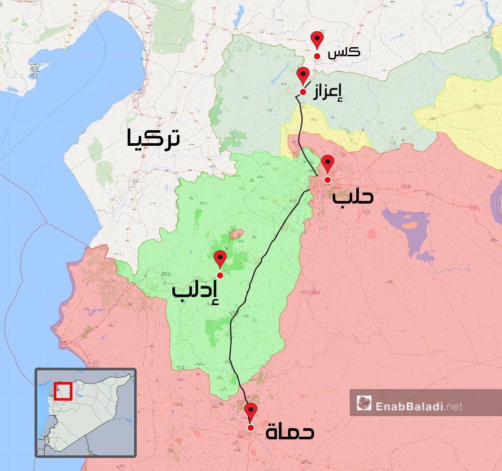 خريطة توضح الطريق الحيوية في الشمال التي من المفترض فتحا بتوافق دولي - 15 من أيار 2018 (عنب بلدي)