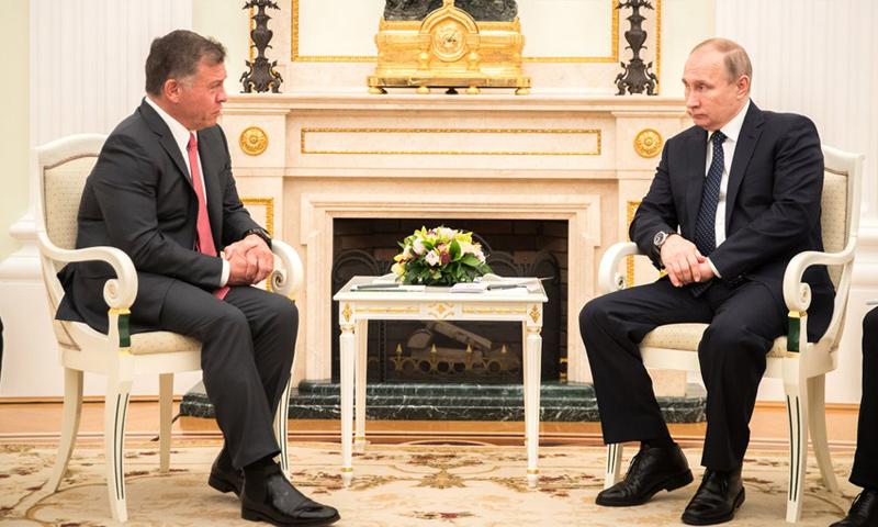 الرئيسان الأردني والروسي الملك عبد اللع وفلاديمير بوتين - شباط 2018 (عمون)
