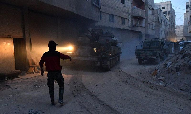 دخول قوات الأسد إلى مخيم اليرموك (سبوتنيك)