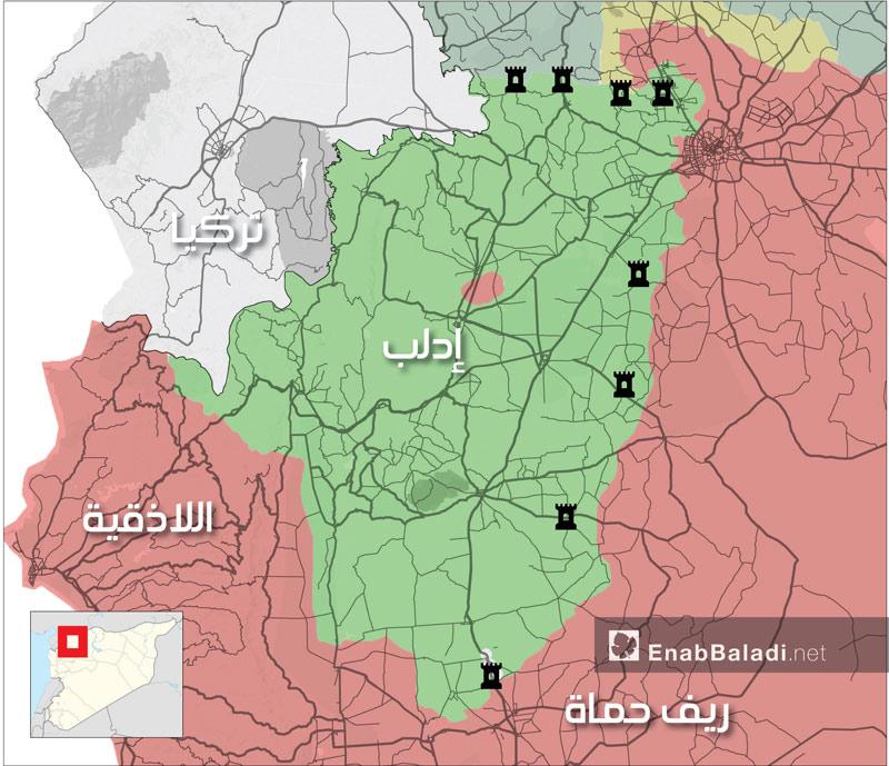 خريطة توزع نقاط المراقبة للجيش للتركي بمحافظة إدلب (عنب بلدي)