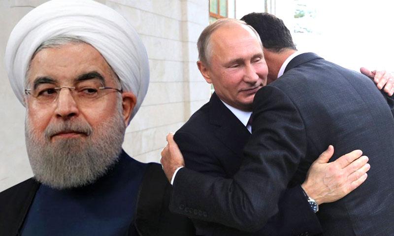 حسن روحاني وفلاديمير بوتين وبشار الأسد (تعديل عنب بلدي)