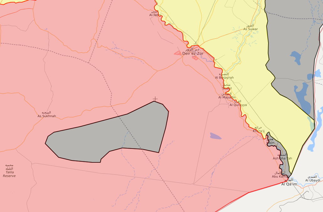 خريطة توضح نفوذ تنظيم الدولة في محيط دير الزور - 11 من أيار 2018 (lm)