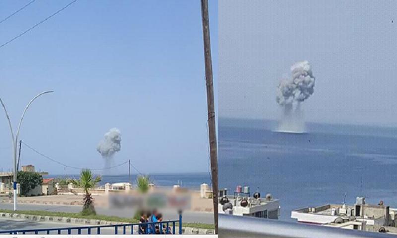 """صور منقولة عن سقوط مقاتلة """"سو- 30"""" الروسية قبالة سواحل جبلة- 3 أيار 2018 (روسيا اليوم)"""