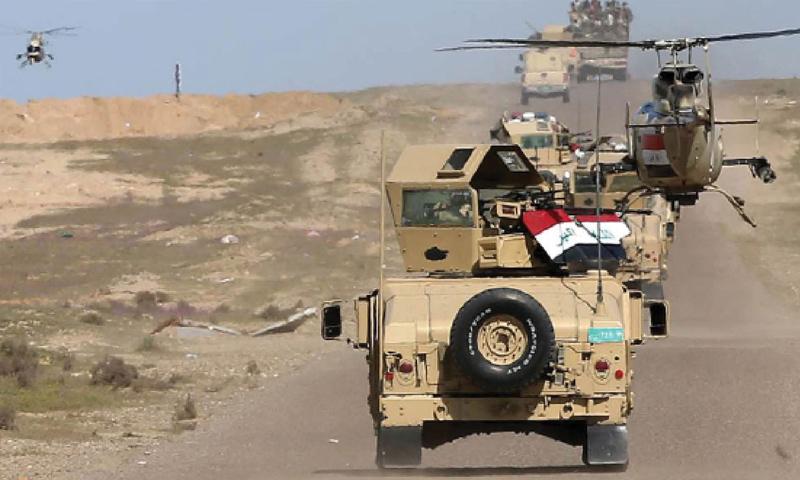 عربات عسكرية عراقية في حملة على مواقع لتنظيم الدولة على الحدود - نيسان 2017 (انترنت)