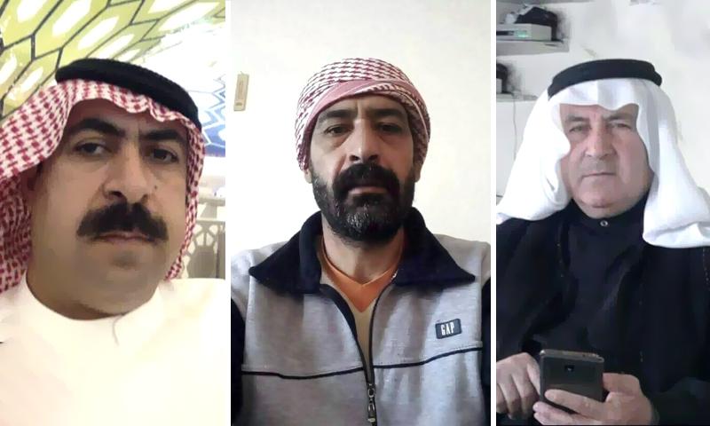 أعضاء لجان المصالحة في منطقة الغارية الشرقية في درعا (تعديل عنب بلدي)