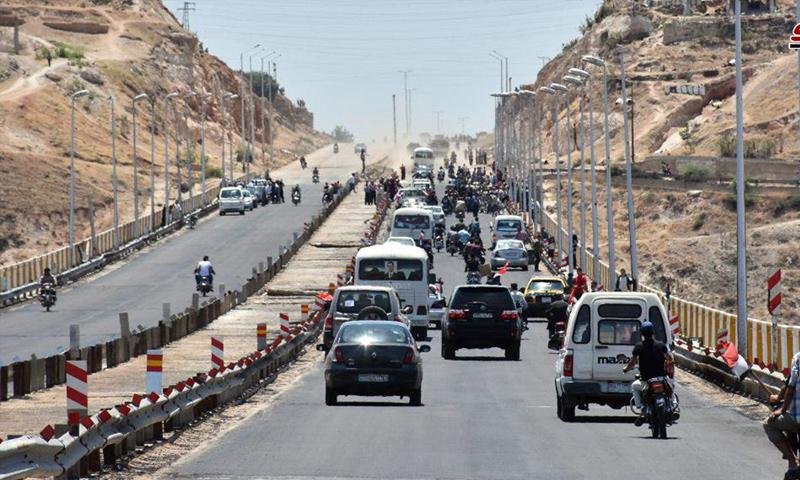 طريق حمص حماة بعد فتحه من قبل النظام السوري - 6 من حزيران 2018 (سانا)