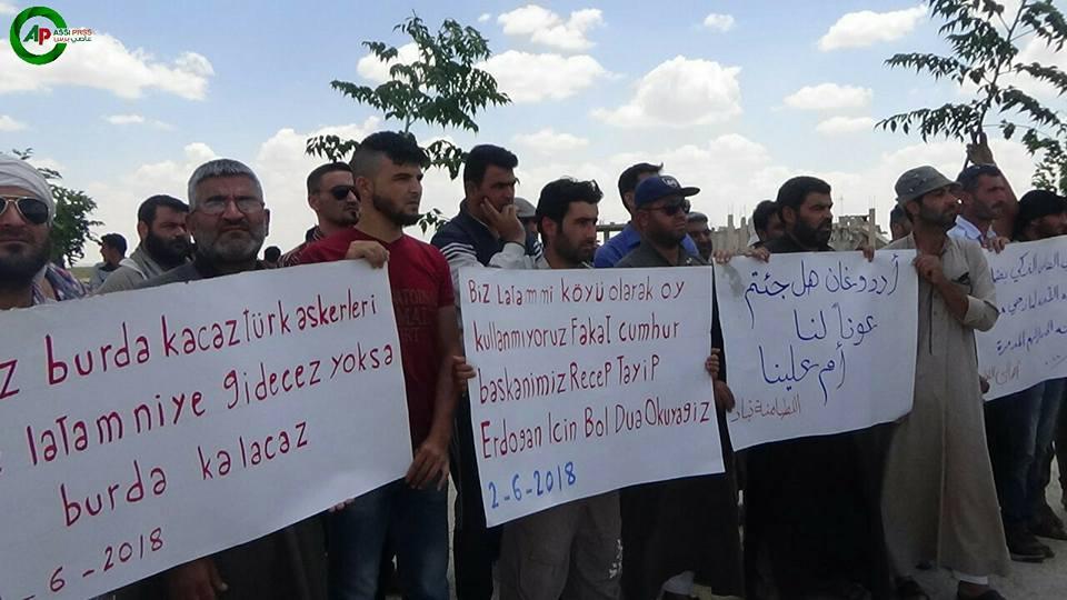 مظاهرات لأهالي اللطامنة في ريف حماه 2 حزيران 2018 (عاصي برس)