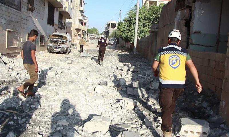 آثار القصف الجوي على مدينة بنش بريف إدلب - 11 من حزيران 2018 (الدفاع المدني)