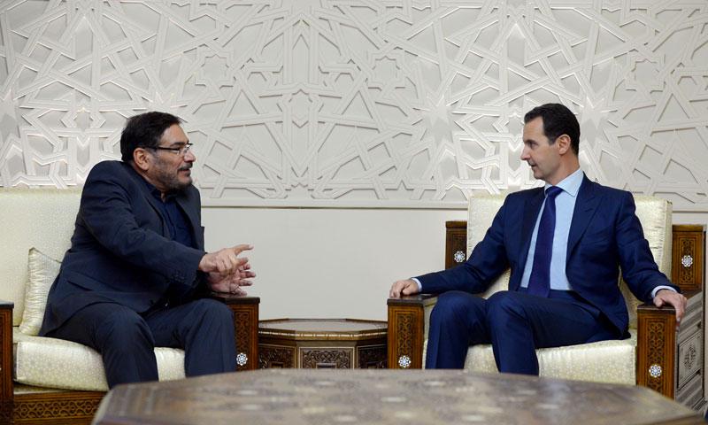 رئيس النظام السوري بشار الأسد في استقبال الأمين العام للمجلس الأعلى للأمن القومي الإيراني علي شمخاني - 8 كانون الثاني 2017 (سانا)