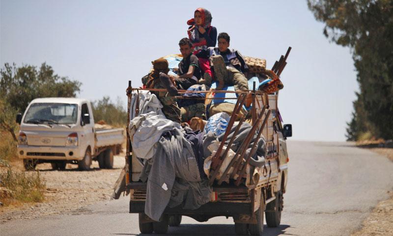 نازحون من ريف درعا الشرقي - 26 حزيران 2018 (ِAFP)