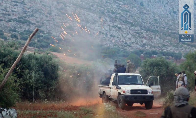 عملية أمنية لهيئة تحرير الشام على موقع لتنظيم الدولة في محيط سلقين بريف إدلب الغربي - 4 من حزيران 2018 (وكالة إباء)
