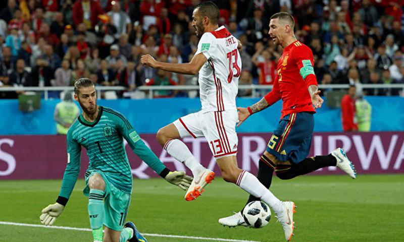 المغرب تتعادل مع المنتخب الإسباني بهدفين لمثلهما- 25 حزيرن 2018 (رويترز)