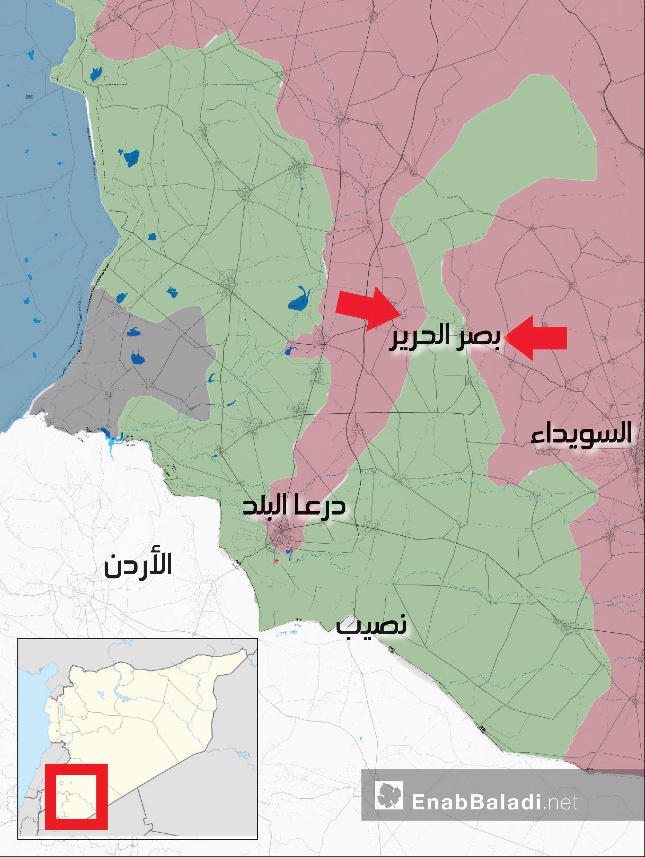 خريطة توضح المحاور التي من المتوقع أن تبدأ قوات الأسد معاركها لعزل اللجاة - 19 من حزيران 2018 (عنب بلدي)