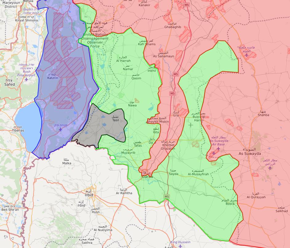 خريطة توضح مناطق سيطرة فصائل المعارضة في الجتوب السوري -22 من حزيران 2018 (LM)