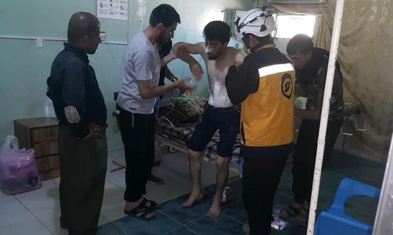 إسعاف جرحى القصف الجوي على ريف درعا الشرقي - 27 من حزيران 2018 (الدفاع المدني)