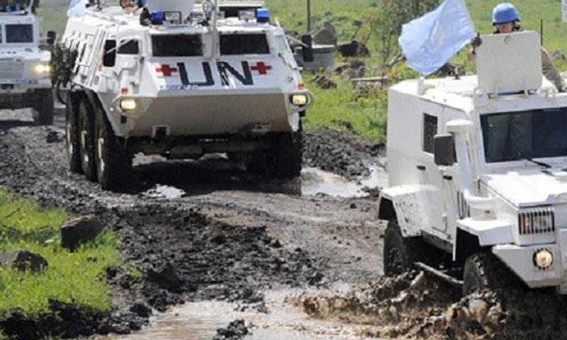 قوات أندوف على الحدود الفاصلة بين الجولان واسرائيل (تويتر)