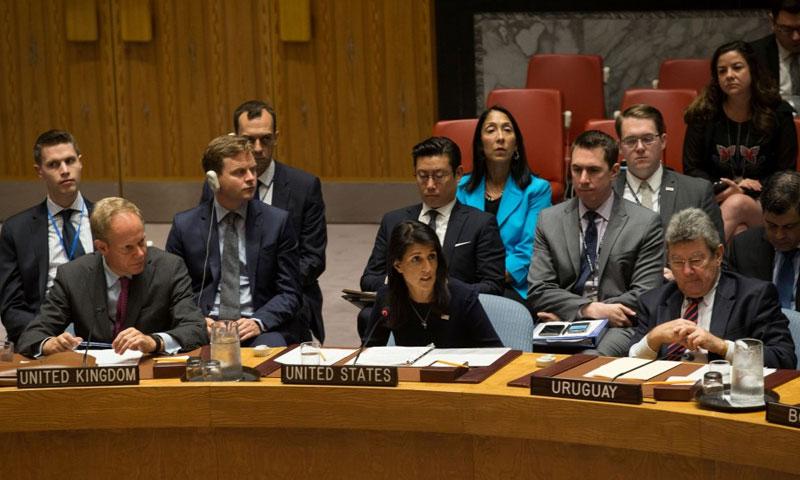 الأمين العام للأمم المتحدة، أنطونيو غوتيريش، والسفيرة الأمريكي (TRT)