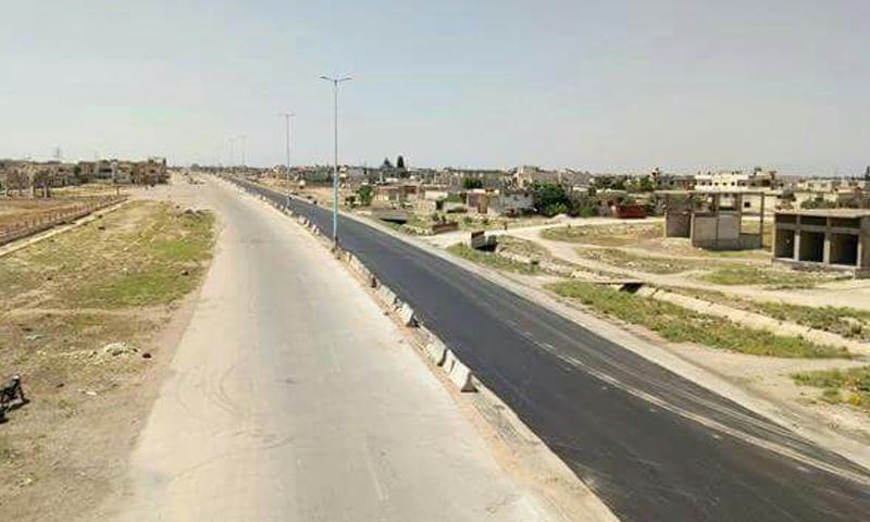 طريق حمص حماة بعد فتحه من قبل النظام السوري - 6 من حزيران 2018 (دمشق الآن)