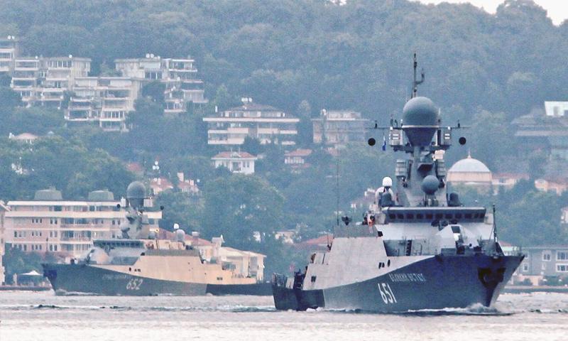 طرادين حربيين يتجهان إلى البحر المتوسط من بحر قزوين - 18 من حزيران 2018 (مرصد البوسفور)