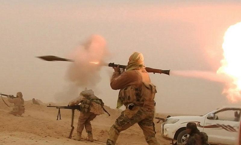 مقاتلو تنظيم الدولة في بادية السويداء (المكتب الاعلامي لقوى الثورة السورية)
