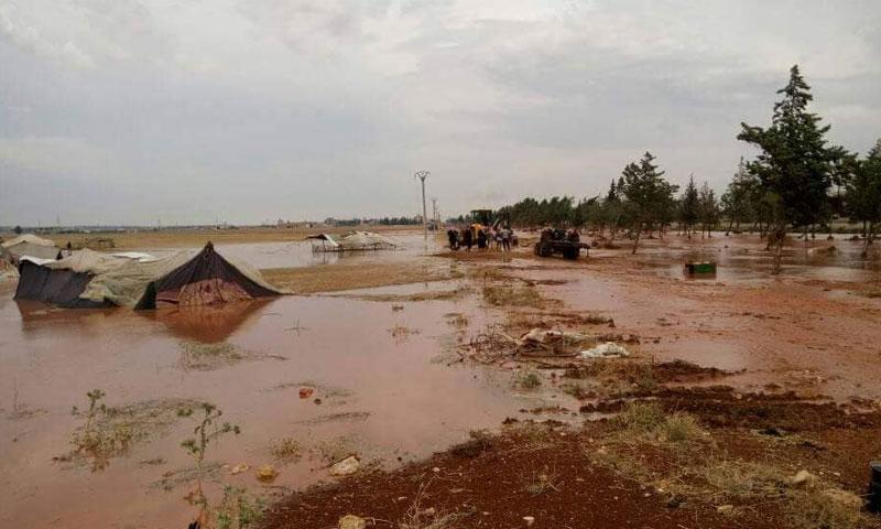 السيول في ريف حلب الجنوبي 13 حزيران 2018 ( مكتب الزربة الاعلامي)