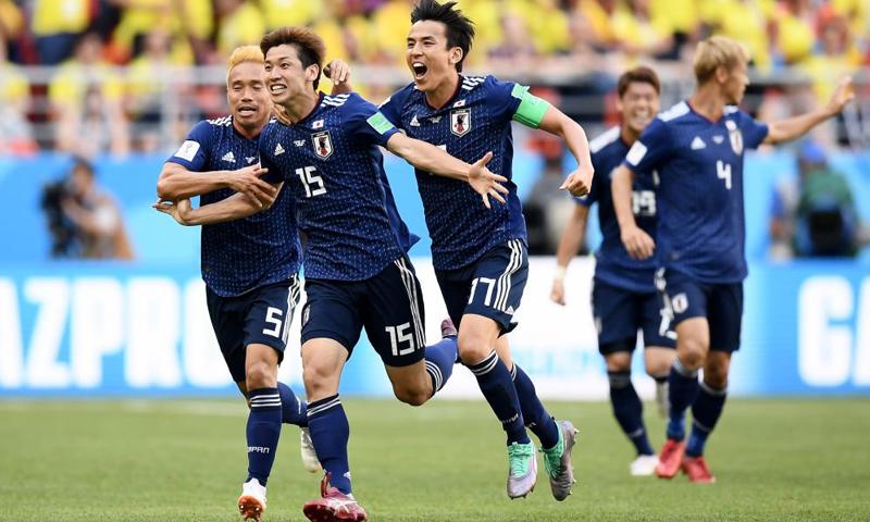 فرحة منتخب اليابان بالفوز على المنتخب الكولومبي في نهائيات كأس العالم - 19 حزيران 2018 (UEFA.com deutsch)