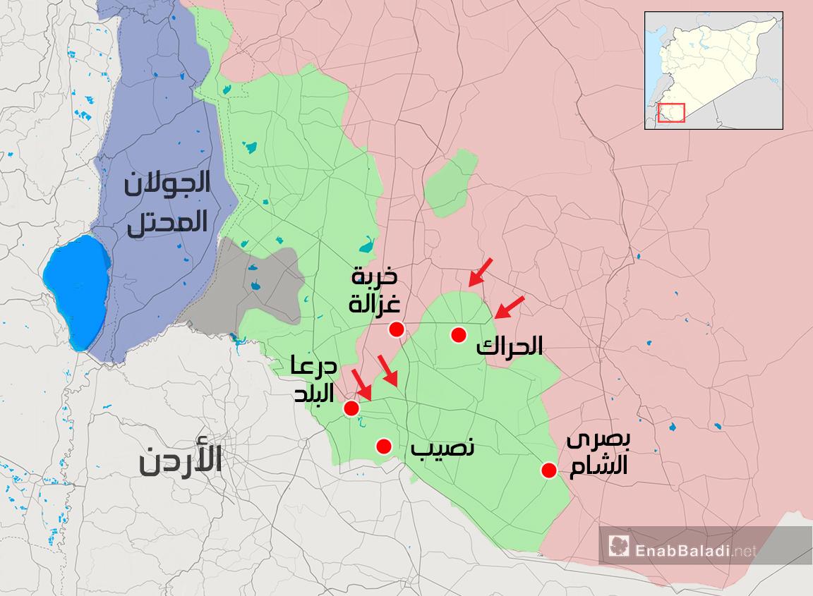خريطة توضح محاور تقدم قوات الأسد في ريف درعا الشرقي - 26 من حزيران 2018 (عنب بلدي)