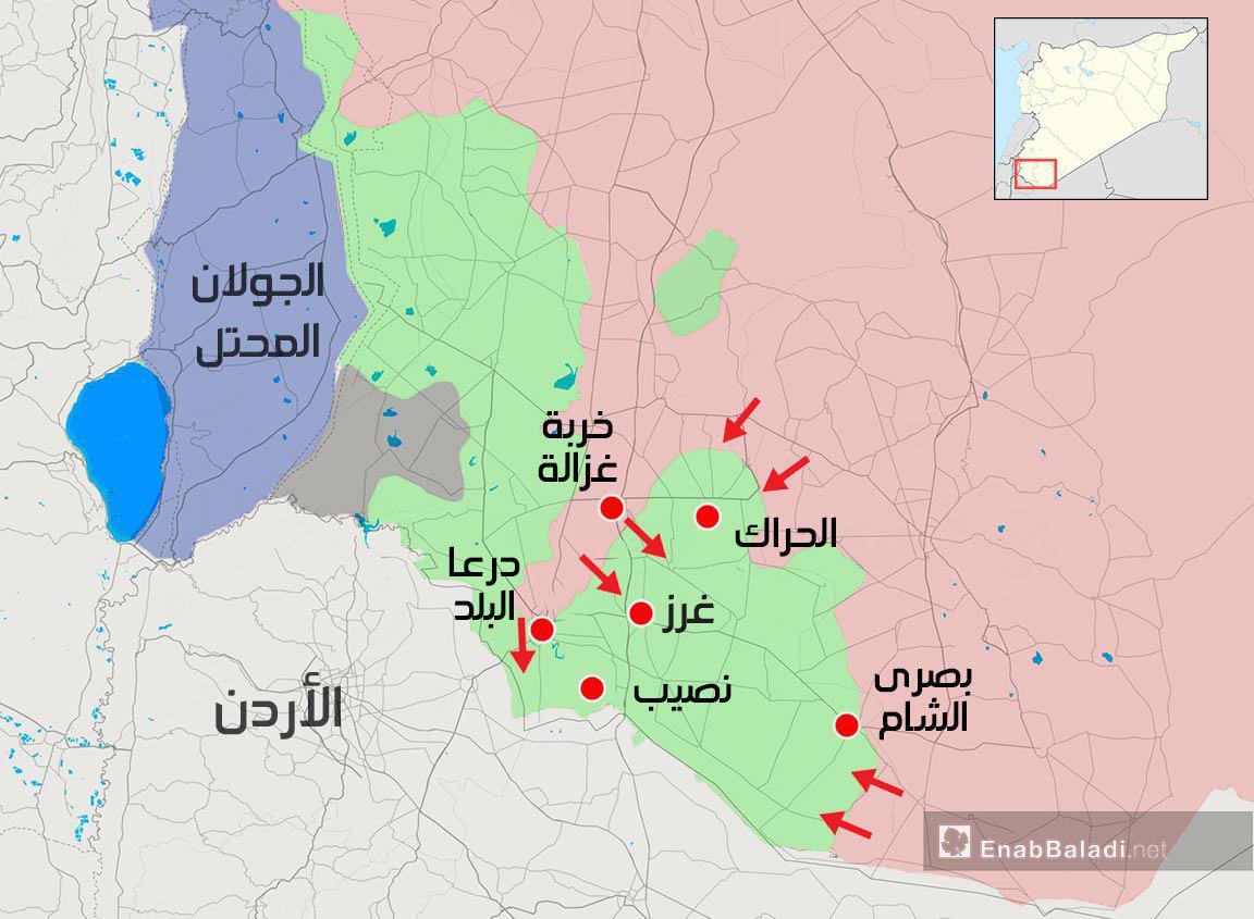 خريطة توضح محاور عمل قوات الأسد في ريف درعا - 27 من حزيران 2018 (عنب بلدي)