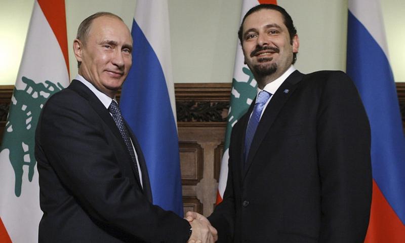 الرئيس الروسي فلاديمير بوتين ورئيس الحكومة اللبنانية سعد الحريري- 13 حزيران 2018 (رويترز)
