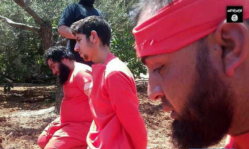 أشخاص أعدمهم مجهولون اتهموا بتبعيتهم لتنظيم الدولة الإسلامية في إدلب - 9 من حزيران 2018 (فيس بوك)