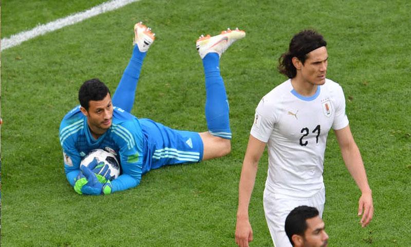 الحارس المصري محمد الشناوي في مباراة مصر والأوروغواي (روسيا اليوم)