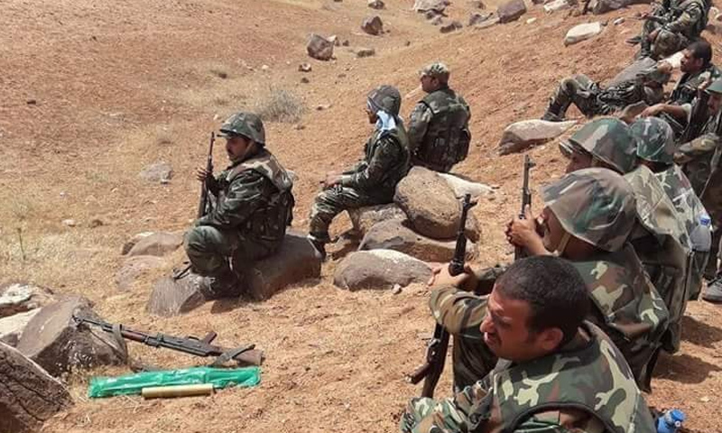 عناصر من قوات الاسد في منطقة البادية السورية - كانون الثاني 2018 (قوات النمر)