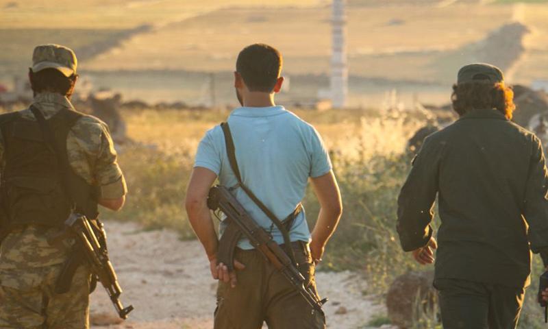 عناصر من جبهة تحرير سوريا على جبهات ريف إدلب - 3 من حزيران 2018 (تلغرام)