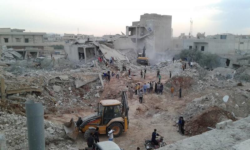 القصف الذي استهدف بلدة زردنا بريف إدلب- 7 حزيران 2018 (الدفاع المدني السوري)