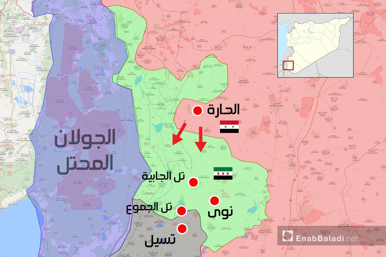 خريطة توضح نفوذ النظام والمعارضة في ريف درعا الغربي - 17 من تموز 2018 (عنب بلدي)