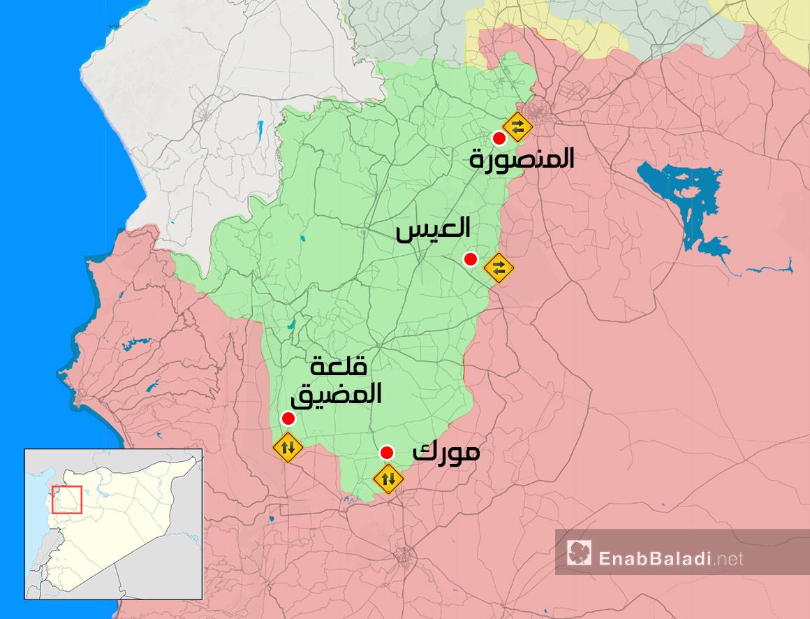 خريطة توضح المعابر التي تصل مناطق النظام بالمعارضة في الشمال - (عنب بلدي)