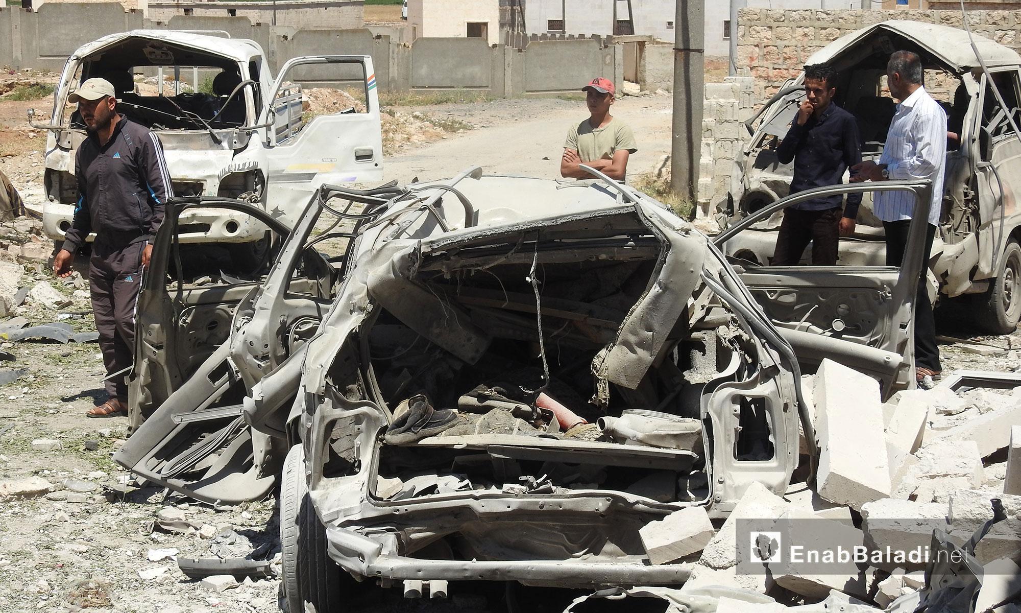 آثار انفجار سيارة مفخخة في مدينة أخترين بريف حلب الشمالي - 22 تموز 2018 (عنب بلدي)