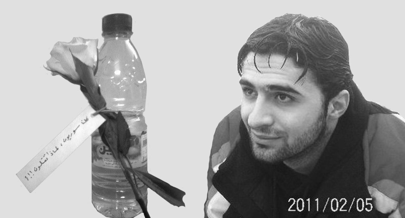 الشهيد إسلام الدباس ورمز تقديم الماء والورود إلى عناصر الجيش في داريا (تعديل عنب بلدي)