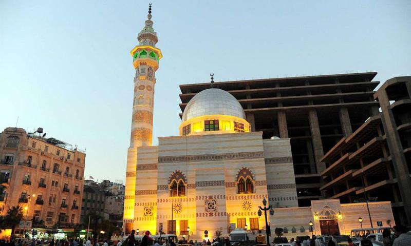 افتتاح مسجد سيف الدين يلبغا (أمام المجمع) في ساحة المرجة بدمشق - 28 تشرين الأول 2014 (سانا)