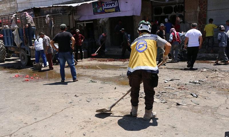 تفجير مفخخة في بلدة قباسين 8 تموز 2018 (الدفاع المدني السوري)