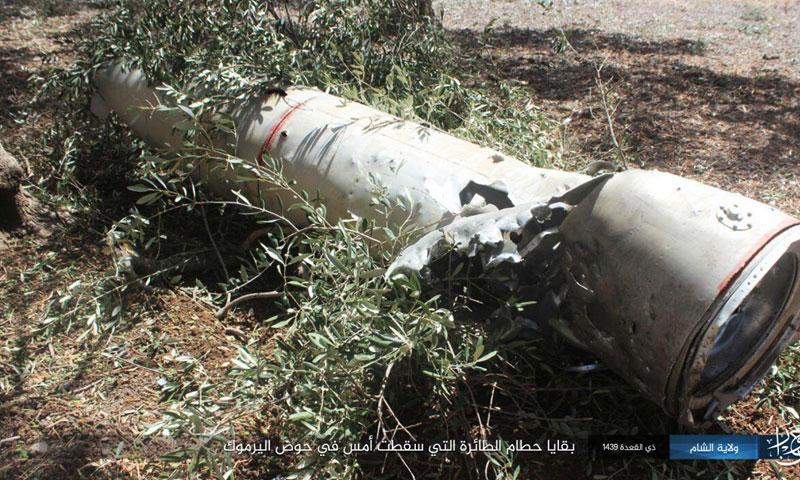 بقايا حطام الطائرة التي سقطت أمس في حوض اليرموك (ناشر نيوز)