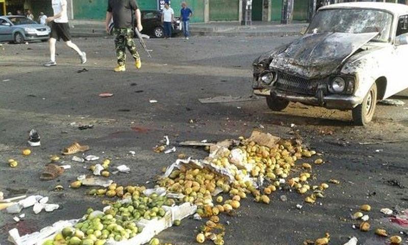 آثار الهجوم الانتحاري على حي في اسويداء - 25 من تموز 2018 (فيس بوك)