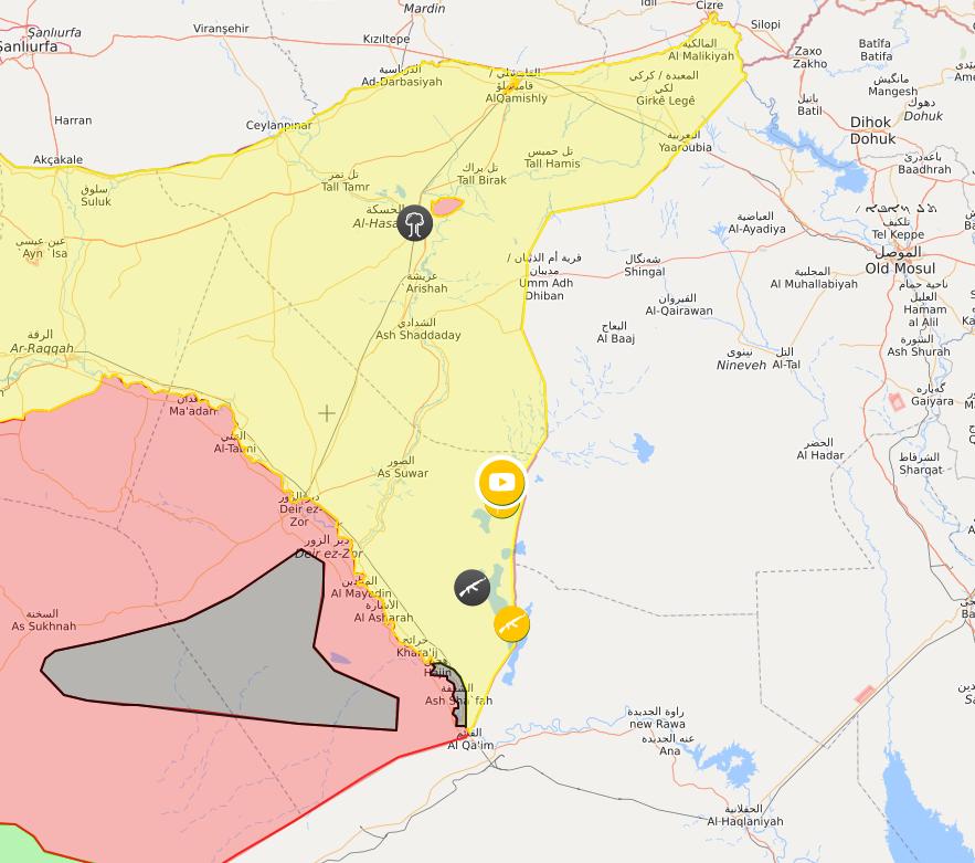 خريطة توضح المناطق التي تقدم إليها قوات سوريا الديمقراطية على الحدود مع العراق - 25 من تموز 2018 (lm)