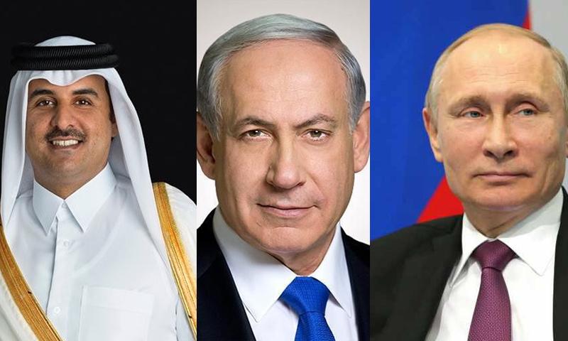الرئيس الروسي فلاديمير بوتين ورئيس الوزراء الإسرائيلي بنيامين نتنياهو وأمير قطر تميم بن حمد (تعديل عنب بلدي)