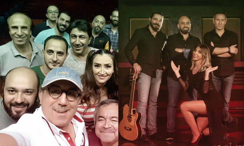 الفرقة المسرحية اللبنانية على يمين الصورة والفرقة السورية على يسار الصورة (تعديل عنب بلدي)